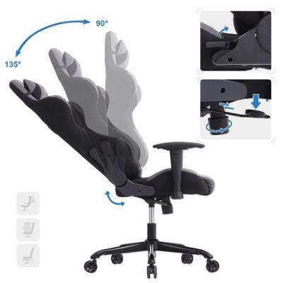 Gamingstuhl mit Neigetechnik und verstellbaren Armlehnen (schwarz / grau)